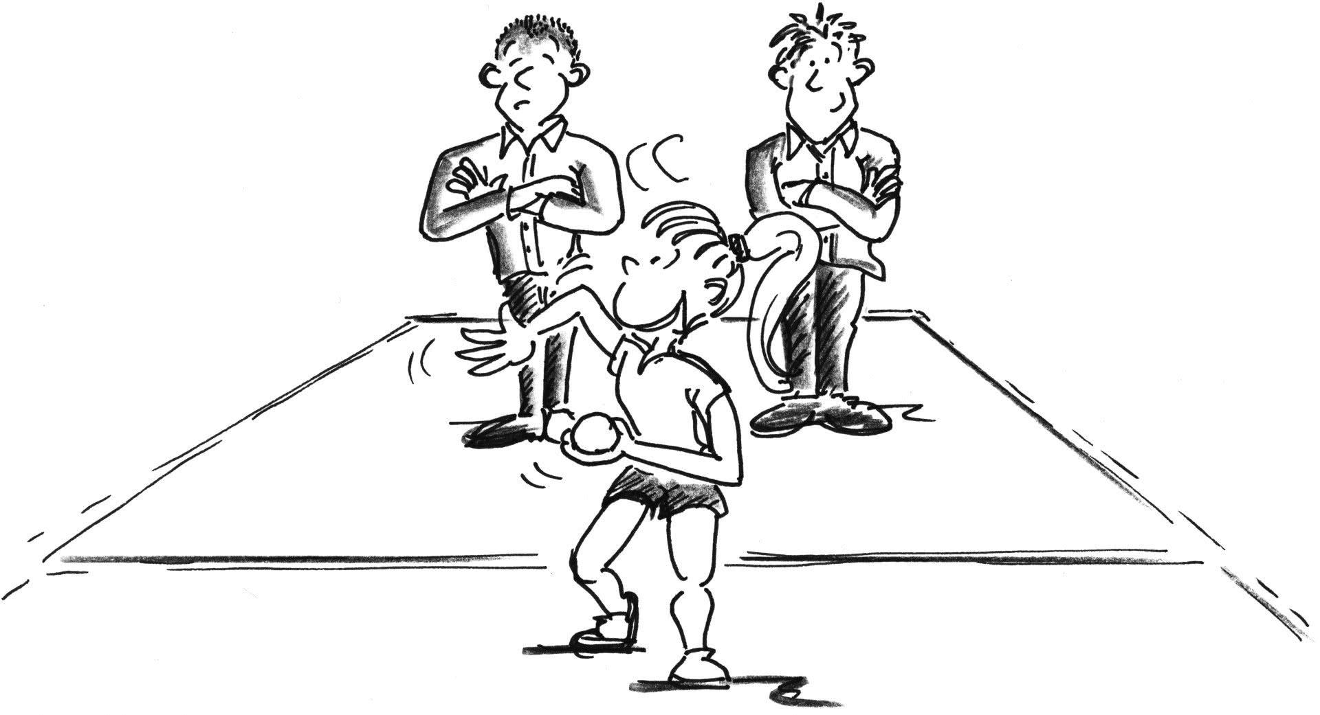 Comic: Eine Person spielt einen Ball in der Hand, zwei schauen zu.