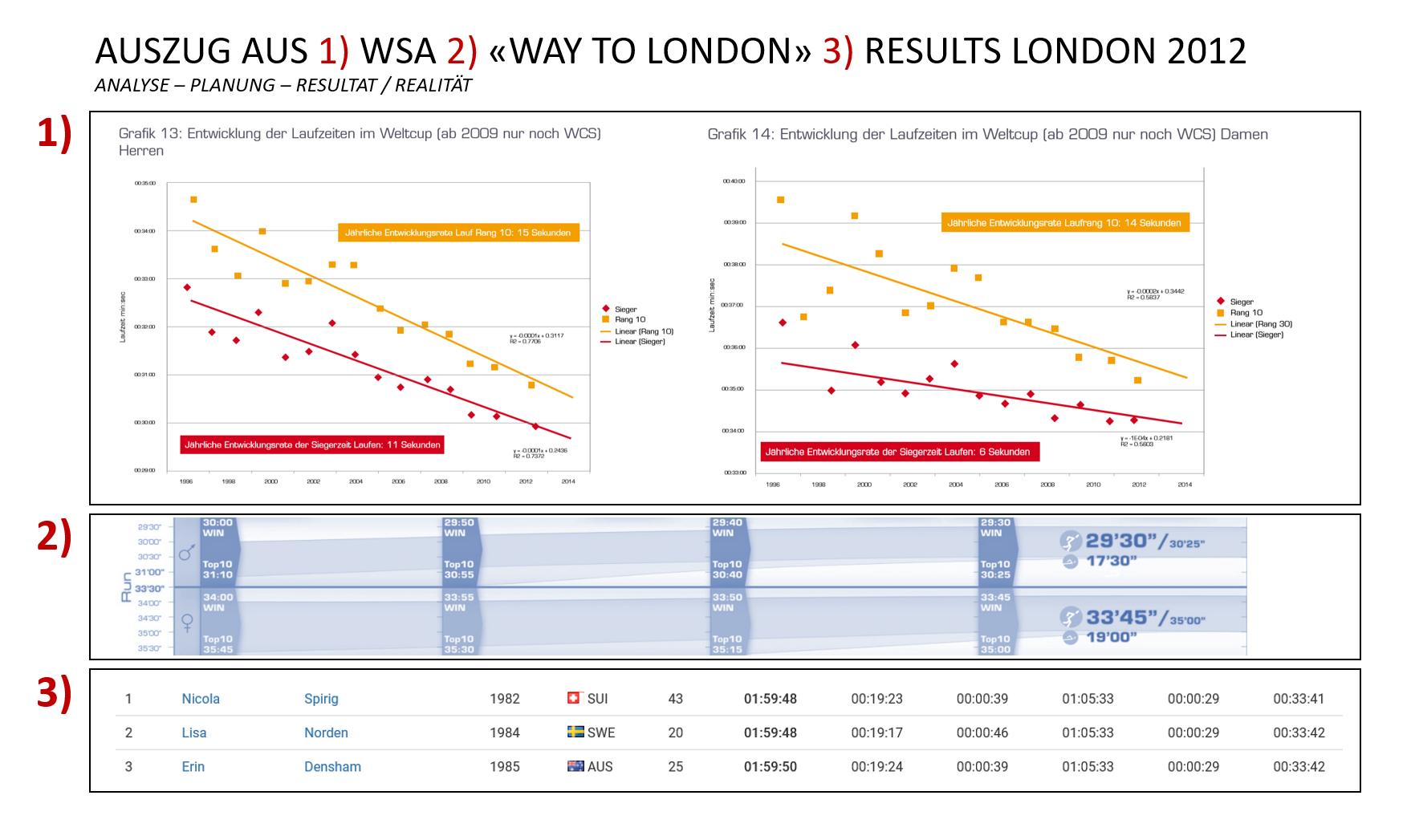 Grafik: Analyse von hunderten Laufleistungen im Triathlon Weltcup.