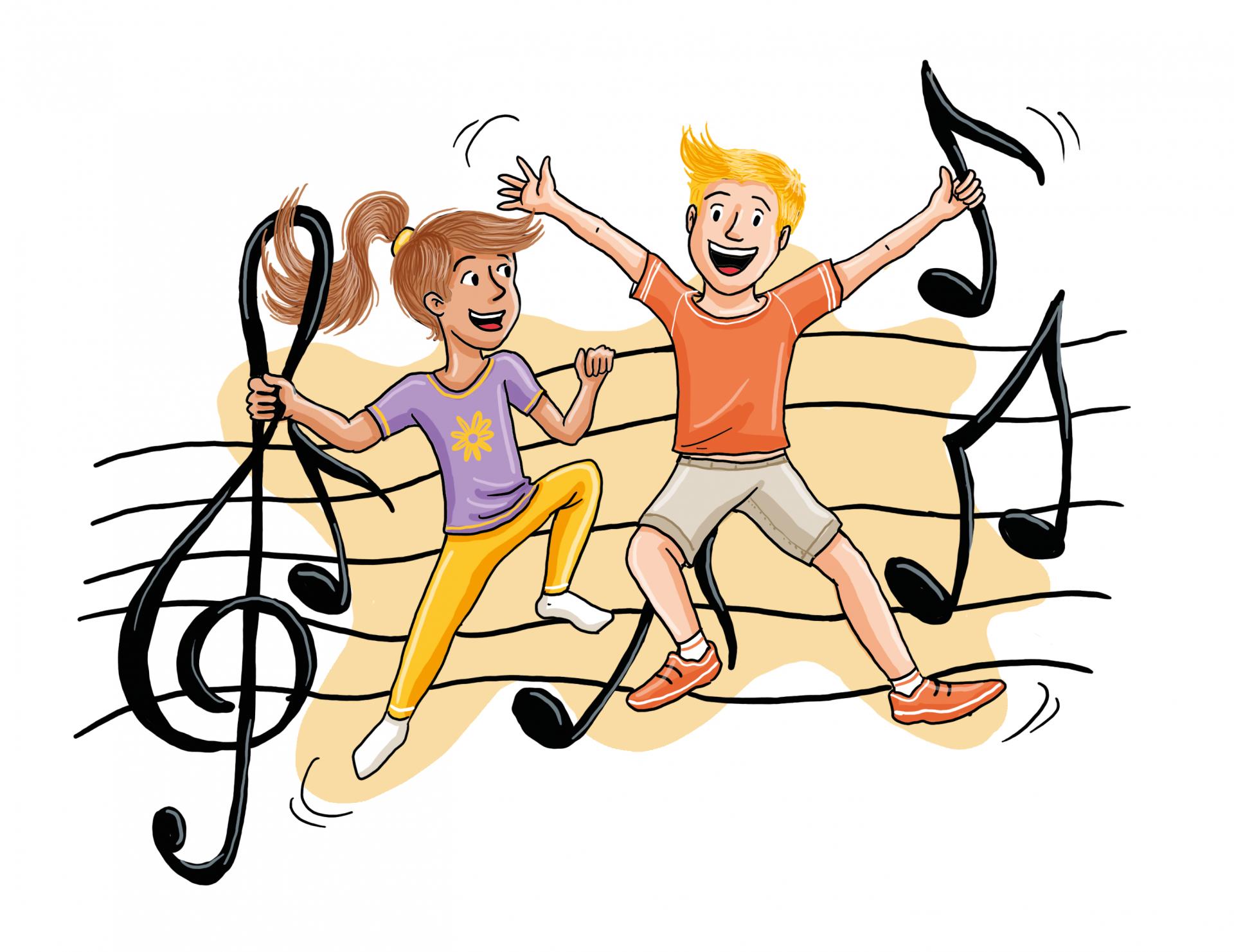 Dessin: deux enfants dansent; en arrière-fond se trouve une gamme avec des notes de musique.