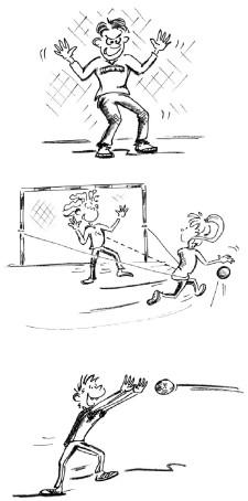Comic-Grafik: Drei Torhütersituationen werden illustriert. Abwehr, Pfostenablenden und Ballfangen.