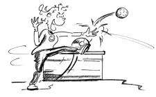Comic: Ein Spieler wehrt den Ball ab, damit er nicht im Kasten landet.
