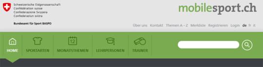Screenshot Hauptnavigation