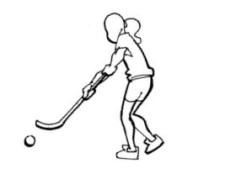 Bild: Eine Person mit einem Unihockeystock und Ball