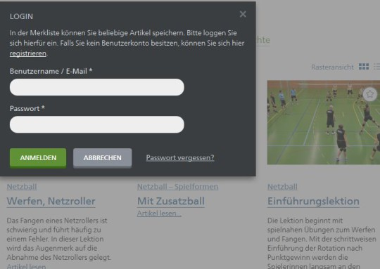 Screenshot Anmelde-/Registrationsfenster für die Merkliste