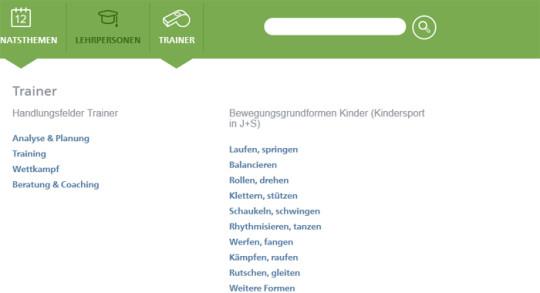 Screenshot: Zugang über Navigation Trainer
