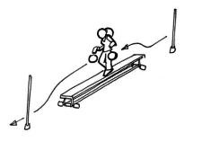 Bild: Schülerin balanciert mit zwei Bällen prellend über Langbank
