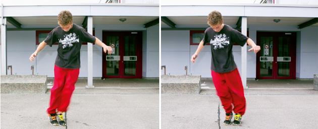 Schüler springt mit Füssen parrallel über eine Linie
