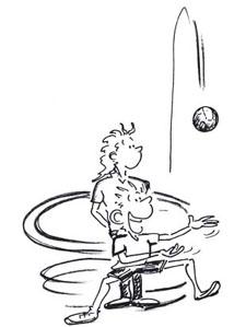 Crosquis d'un personnage se déplaçant en pas chassés et rattrapant un ballon.