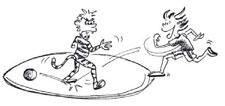 Fumetto: un giocatore si trova in un cerchio e un altro corre attorno al cerchio.