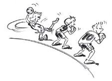 Fumetto: tre giocatori sono posizionati attorno a un cerchio, uno tira la palla, gli altri due danno di spalle.