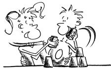 Dessin: Deux enfants empilent les gobelets.