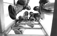 Des enfants grimpent sur une échelle.