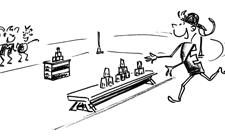 Dessin: un enfant court en direction d'un banc suédois, en contournant un piquet, afin de monter une tour 3-6-3.