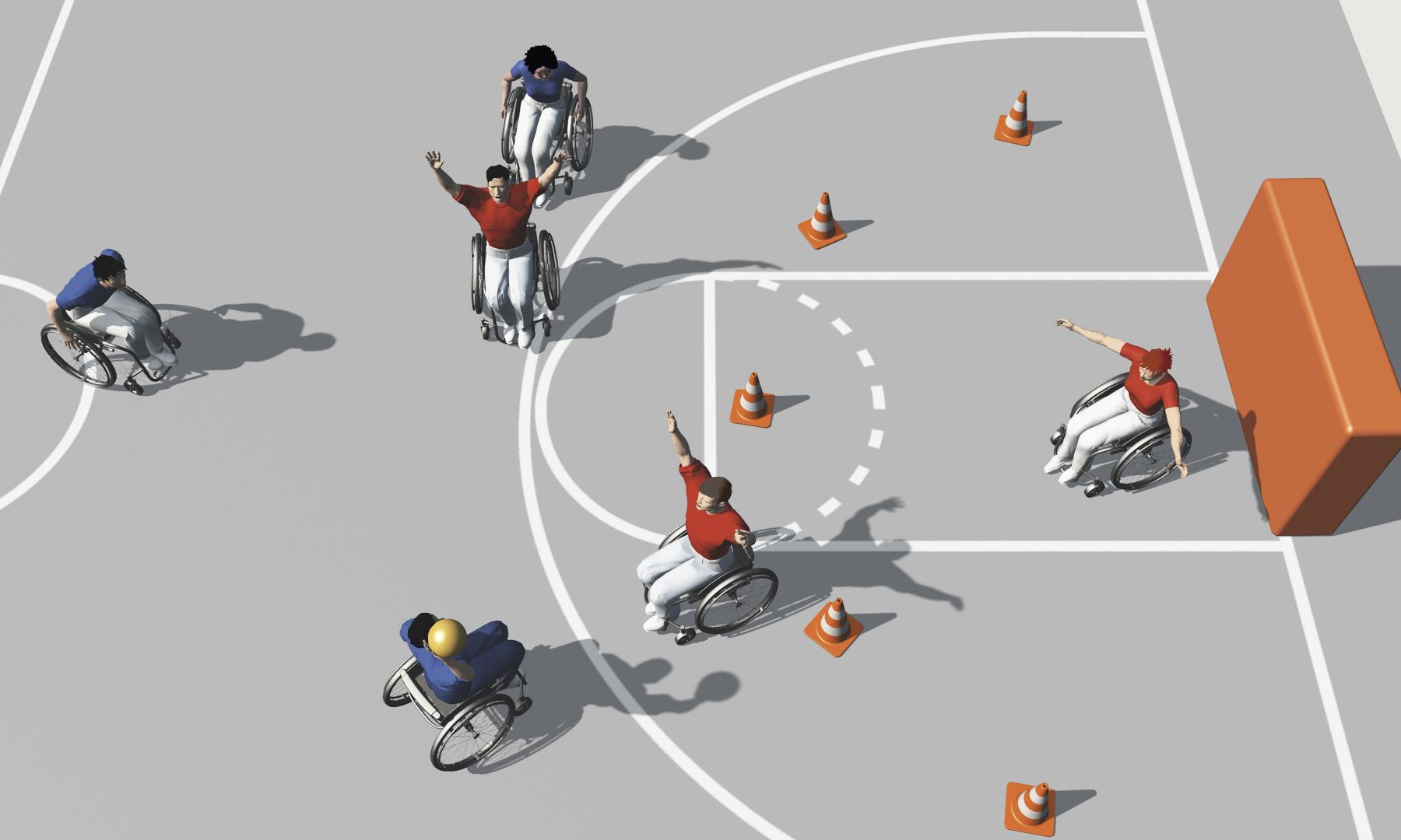 sport en fauteuil roulant exercices de base pour jeux d 233 quipe balle au but