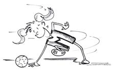 Comic: Eine Jugendliche stösst kniend einen Ball vorwärts.
