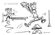 Comic: Zwei Kinder rennen mit Bällen um und über Hindernisse.