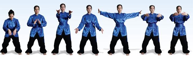 Sequenza di immagini: una donna esegue una serie di esercizi di Qigong