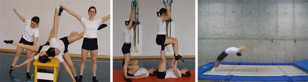 Reihenbild zeigt die Gerätehilfe bei verschiedenen Übungen.