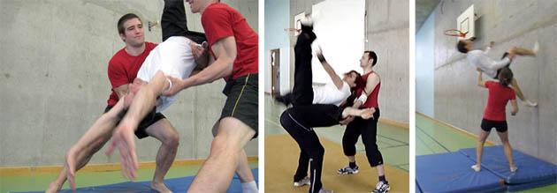 Reihenbild zeigt die Partnerhilfe bei verschiedenen Akrobatikeinlagen.