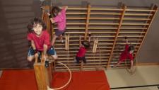 Dei bambini si arrampicano sulle spalliere di una palestra