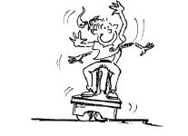 Comic: Ein Kind versucht, sich auf einem Kastendeckel aufrecht zu halten.