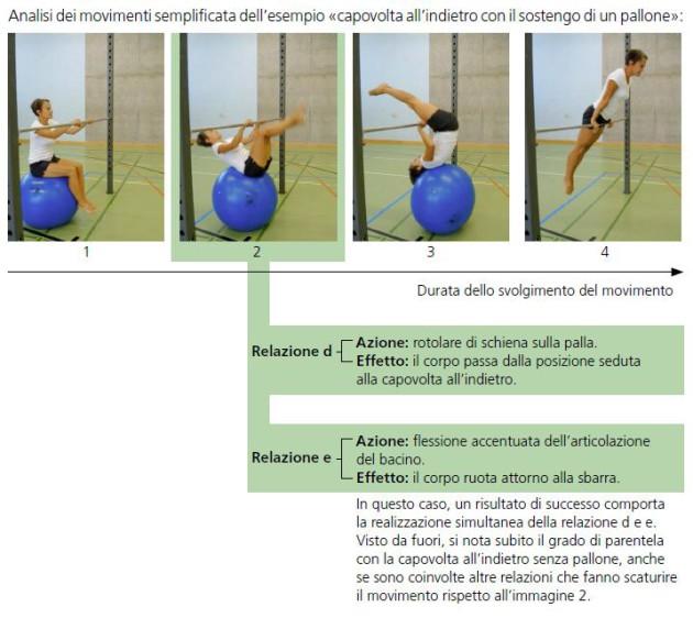 Analisi dei movimenti semplificata dell'esempio capovolta all'indietro con il sostegno di un pallone