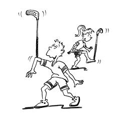 Comic: Zwei Kinder balancieren den Stock auf dem Arm und auf dem Fuss.