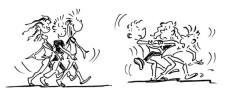 Comic: Mehrere Kinder bewegen sich zu Musik.