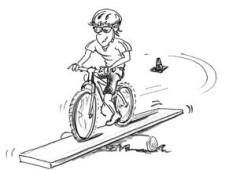 Dessin: un enfant roule à vélo sur une planche en bois.