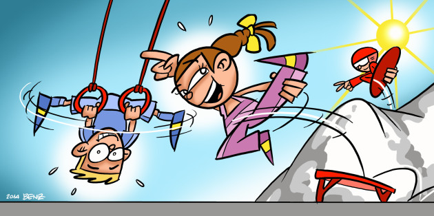Dessin: un garçon et une fille effectuent une figure aux anneaux, respectivement sur le mini-trampoline.