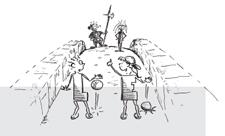 Comic: Zwei Kinder auf einer Brücke werden von 2 Wachen abgefangen.