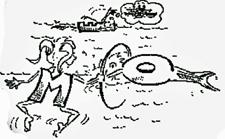 Comic: Zwei Kinder schwimmen, während sie von einem Schwertwal gejagt werden.