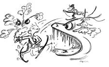 Comic: Zwei Kinder im Schnee/Eis, eins wird von einem Eismonster angegriffen.