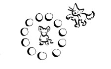 Skizze: Eine Katze und eine Maus.
