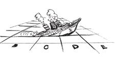 """Comic: Schiff sinkt auf Schema des Spiels """"Schiffe versenken"""""""