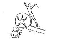 Dessin: un enfant saute à l'eau pendant qu'un camarade lui indique quelle figure réaliser.