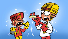 Comic: Ein Junge weint, weil er einen Zahn herausgeschlagen hat, der Coach hält ihm den Mundschutz vor das Gesicht.