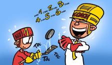 Comic: Ein Junge jongliert einen Puck auf einem Hockeystock, der Coach lacht ihn an.