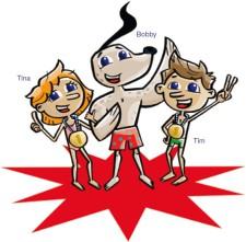 Comic: Bobby, Tim und Tina: Die drei Identifikationsfiguren in der Swiss Swimming Ausbildung Kids.