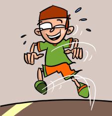 Comic: Ein Junge springt herum.