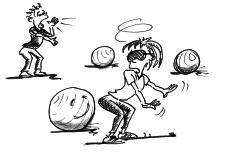 Dessin: une femme, les yeux bandés, essaie de retrouver un ballon, selon les indications d'un partenaire.
