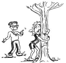 Dessin: une femme enlace un arbre, sous le regard satisfait d'un partenaire.