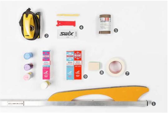 Materiale necessario per preparare gli sci e applicare la sciolina.