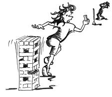 Dessin: une femme court avec un bloc de bois dans la main, qu'elle a retirée d'une tour.