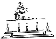 Dessin: une femme vise des cibles placées sur un banc avec des balles.