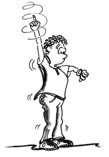 Dessin: un homme dessine des cercles avec une main au-dessus de sa tête et regarde sa montre.