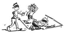 Comic: Drei Personen, zwei mit Augenbinde, eine mit Hand vor dem Mund versuchen, gemeinsam eine Aufgabe zu lösen.