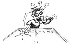 Dessin: un joueur fulmine lors d'une partie de tennis de table.