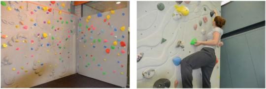 Foto 1: parete da bouldering con numerose prese - Foto 2:prese jug con apertura verso il basso che esige una presa inversa