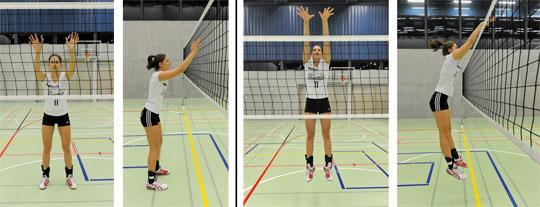 Foto 1 und 2: Basis – Fotos 3 und 4: Blocksprung